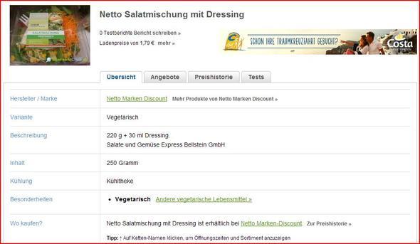 Salat Bei Netto Wie Viele Kalorien Essen Ernährung Diät