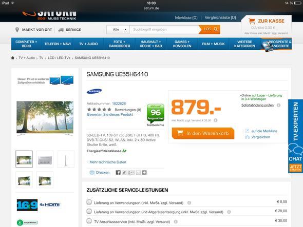 Das TV - (Samsung, Receiver integriert, UE55H6410)