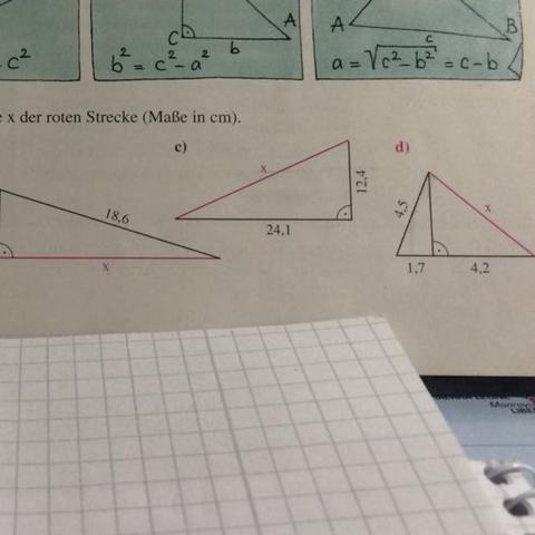 Aufgabe: Berechne die Länge x der roten Strecke (Maße in cm) - (Schule, Mathe, Satz des Pythagoras)
