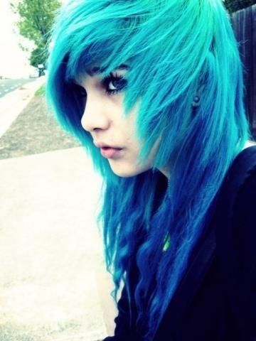 blaue scene haare :3 - (Haare, Frisur)