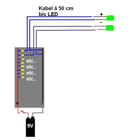 Schaltplan - LED\'s - Wo ist der Fehler? (Elektronik, Elektrotechnik ...