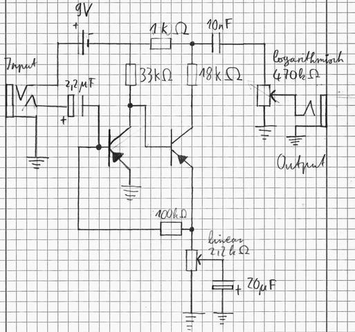 Schaltplan für ein Fuzzface (Elektronik, Gitarre, Effekte)