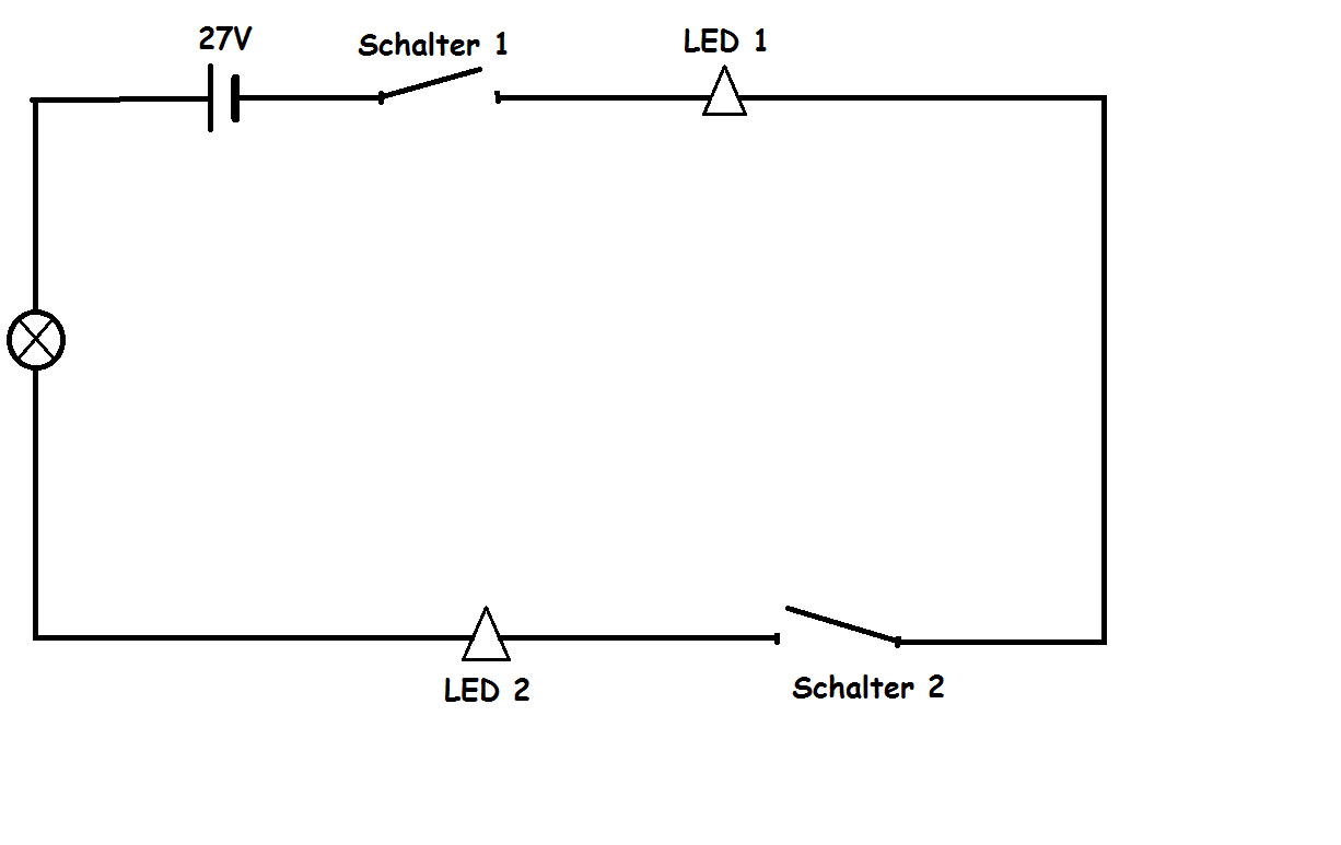 Schaltplan mit 2 LED und Motor Wie geht das!?!? (Technik, Elektronik ...