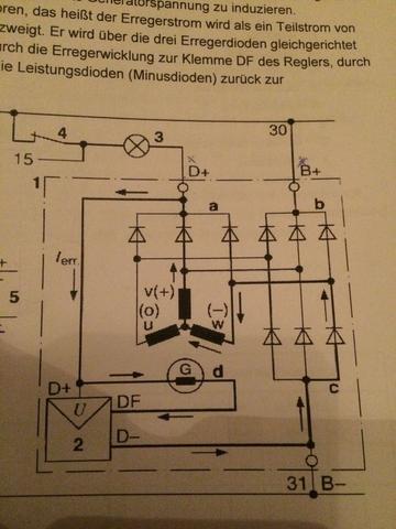 Schaltplan/Generator Unterbrechung Plusdiode (Technik, Elektronik, KFZ)