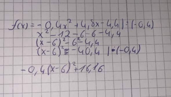 Scheitelpunktform wo ist der Fehler?