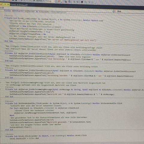 Bisheriger Programmcode für den Verbindungsaufbau vom server zum client - (Computer, programmieren, Informatik)