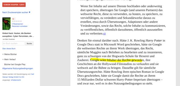 Der betreffende Textabschnitt - (Google, Schreiben, Harry Potter)