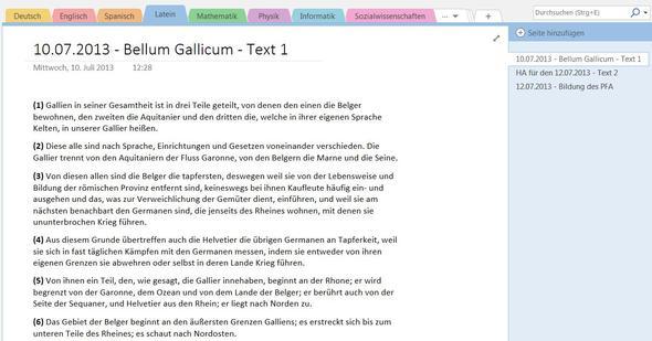 Beispiel in Microsoft OneNote - (Schule, Abitur, Gymnasium)