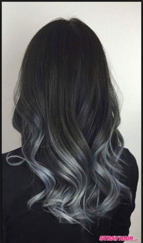 Schwarze Haare Zu Grau Ombre Balayage In Einer Sitzung Frisur