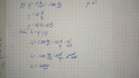 Rechnungsweg - (Physik, schweredruck)
