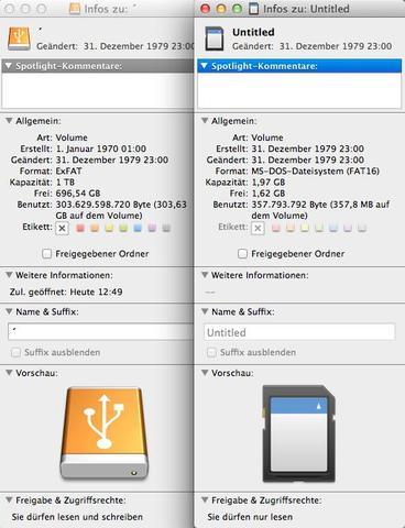 links 1TB Festplatte, rechts 2GB SD - (Computer, Datei, Karten)