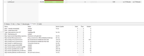 Bild mit der Datei (workshop.rar) + den Trackern die ich versucht habe - (Computer, torrent, Seed)