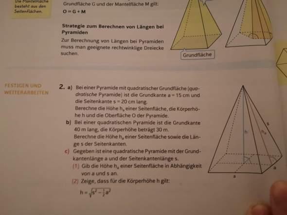 Seiten der Pyramide berechnen?