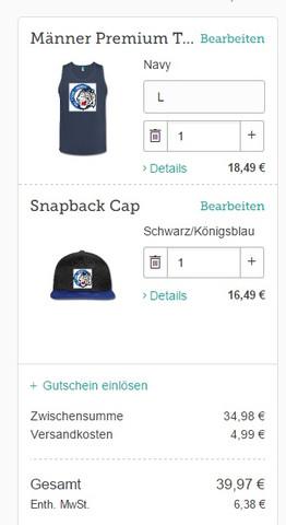 Cap und Tanktop - (Selber gestalten, weißer rand, spreadshirt.de)