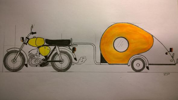 Simson mit Wohnwagen - (KFZ, Moped, TüV)