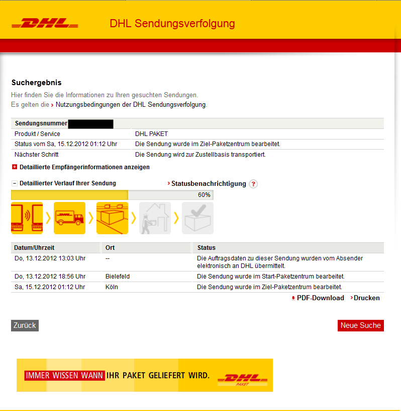 sendungsverfolgung dhl paket internet deutsche post. Black Bedroom Furniture Sets. Home Design Ideas