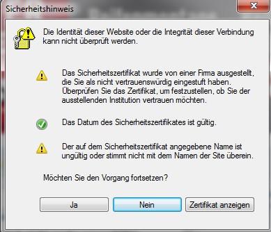 Sicherheitshinweis - (Internet, Fehlermeldung, Sicherheit)