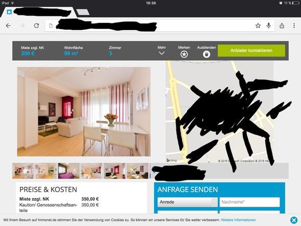 wie hoch sind die nebenkosten und ist diese wohnung zu. Black Bedroom Furniture Sets. Home Design Ideas