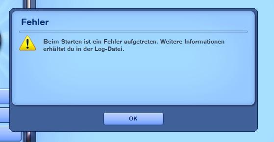 Die Fehlermeldung im Launcher - (Sims 3, Fehlermeldung, Sims)