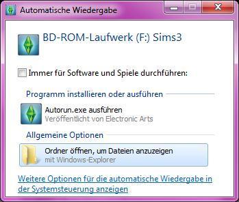 Automatische Wiedergabe - (Computer, Sims 3, Installation)