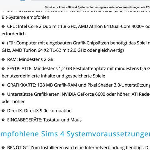 Die Anforderungen für sims 4 - (Betriebssystem, Sims 4)