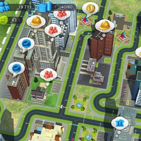 Die 3 Häuser links mit den roten Blasen sind die betroffenen Häuser. - (Spiele, Handyspiele, City)