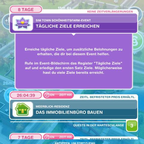 Das ist die steckende Aufgaben,die nicht zur nächsten gehen will. :( - (Sims, Event, sims freispiel)