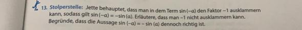 sin(-alpha) = -sin alpha?