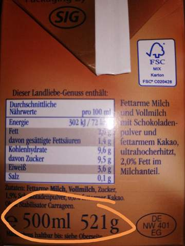 Sind 500 ml gleich 521 gr, oder sind 21 gr die Verpackung?