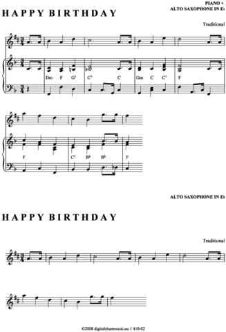 Sind Das Die Richtigen Altsaxophon Noten Zu Happy Birthday Saxophon
