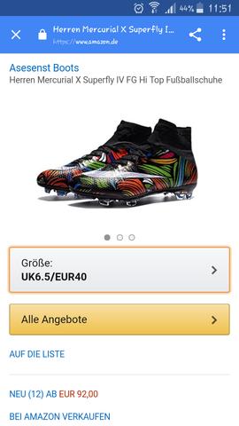 92€ bei Amazon  - (Fußballschuhe, fake-oder-original)