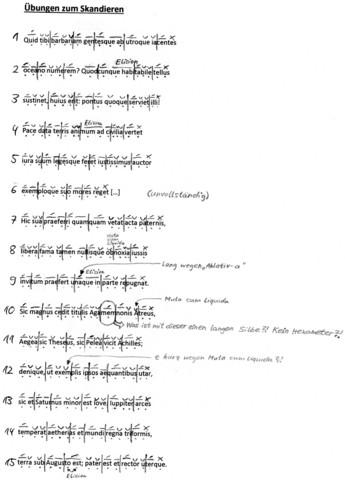 Skandieren lateinischer Verse (Ovid) im Hexameter - wer kann zur Klausurvorbereitung meine Übung korrigieren?