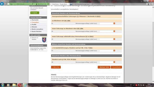 ElsterformularSreenshot - (Buchhaltung, umsatzsteuervoranmeldung, buchhalter)