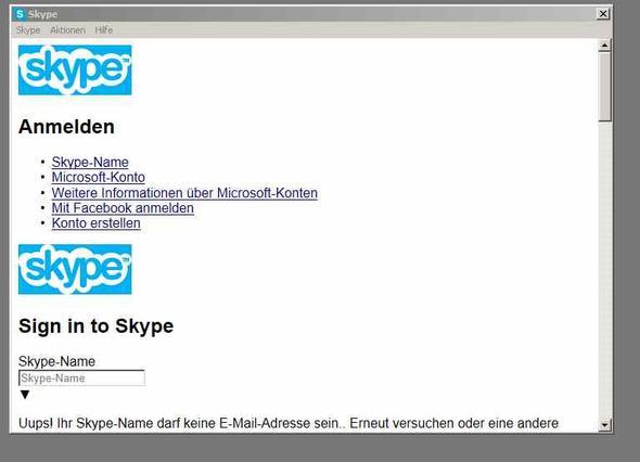 falsches Skype Startfenster - (Programm, Skype, telefonieren)