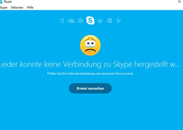 Das steht dort seit 7 Tagen, obwohl es eine Internetverbindung gibt - (Skype, Windows 10, Verbindungsprobleme)