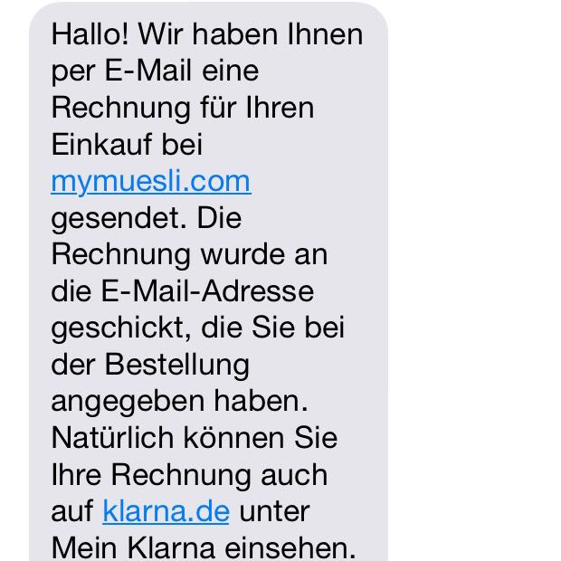 ist diese sms von klarna betrug online shop rechnung fake. Black Bedroom Furniture Sets. Home Design Ideas