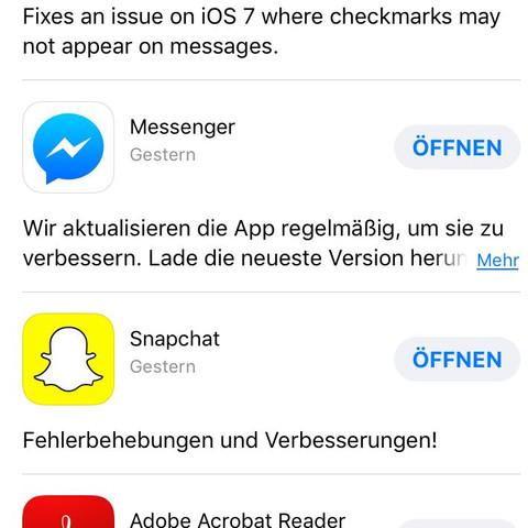 Snapchat Update gestern das letzte mal gemacht. - (Handy, Technik, iPhone)