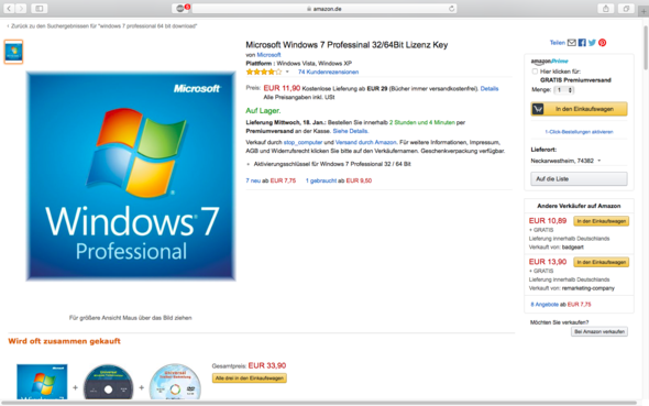 Würde das passen für einen Windows 7 Produktschlüssel oder lieber eine andere? - (Mac, Bootcamp)