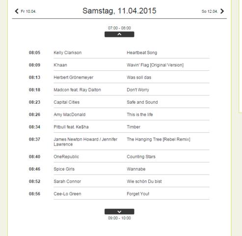 Radio Playliste - (Musik, Lied, Song)