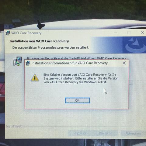 Das ist die Meldung - (Software, Sony, VAIO)