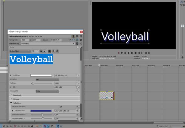 Im Edit Fenster wird die Schrift korrekt abgebildet - (Video, Videobearbeitung, Schrift)