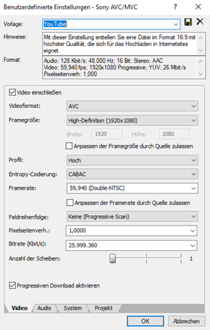 Sony Vegas Pro 17 1080p60 Render Settings?