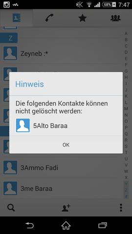 Screenshot beim Versuch den Kontakt zu löschen - (Handy, Technik, löschen)