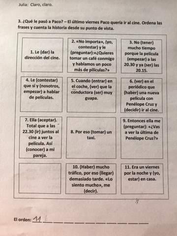 Spanisch Aufgabe in Reihe bringen ?