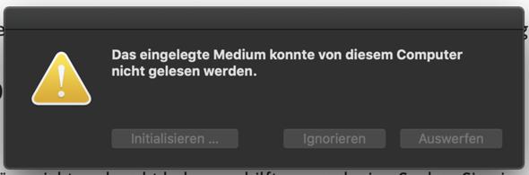 Speicherkarte wird vom Mac nicht angenommen?