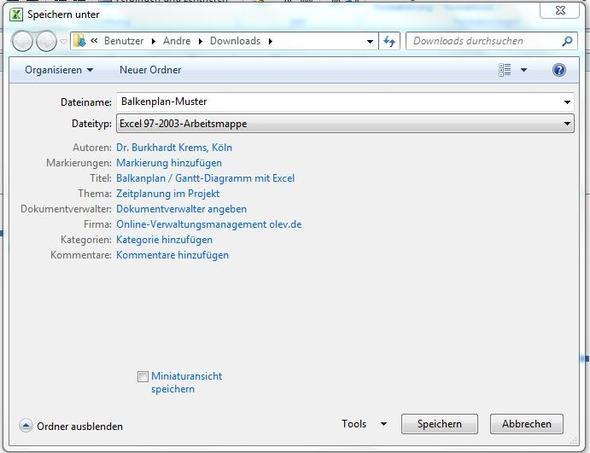 Speichern unter - Keine Ordnerstruktur (Computer, Windows 7, Excel)