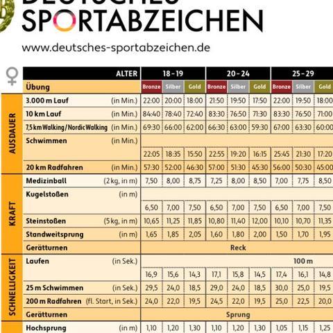Anforderungen Sportabzeichen  - (Studium, Polizei, Sportabzeichen)