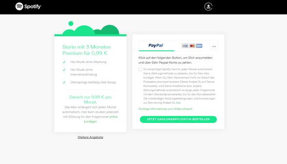 Auf diese Seite komme ich immer wieder, nachdem ich auf zahlen geklickt habe - (Internet, PayPal, Spotify)