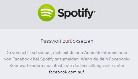 Spotify PW zurücksetzen - (Facebook, Passwort, Spotify)