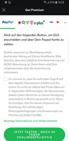 Spotify Reserviert Einen Bestimmten Betrag 30 Tage Kostenlos Testen